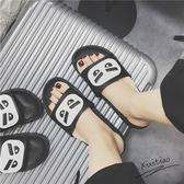 拖鞋 小怪獸惡魔拖鞋男女士時尚防滑室內外情侶涼拖鞋 巴黎春天