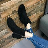 女鞋子2018秋冬季新款圓頭粗跟低跟側拉鏈馬丁靴絨面磨砂短筒短靴  初見居家