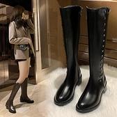 騎士靴女2021年新款長靴瘦瘦黑色加絨顯瘦不過膝高跟長筒靴子秋冬 百分百