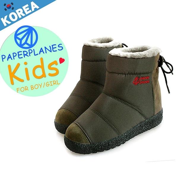[現貨] 童鞋 PAPERPLANES 正韓製 羽絨拼接麂皮輕量後綁帶 親子雪靴【B7907790】