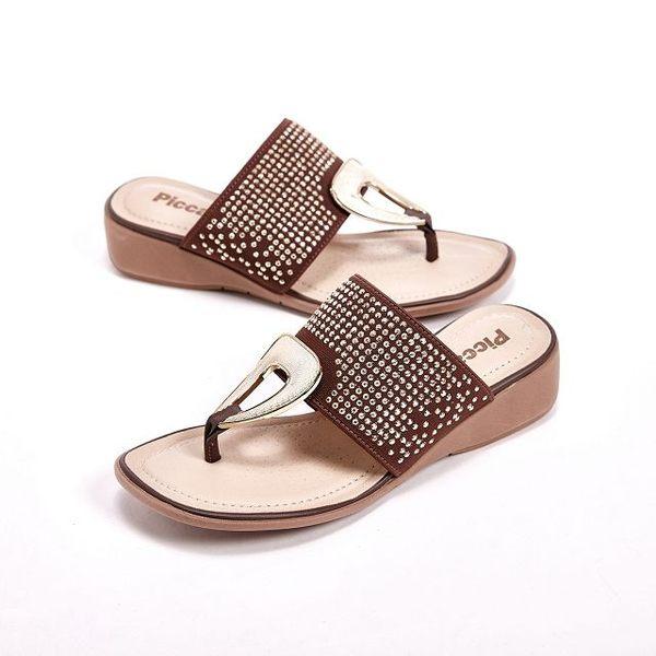 Piccadilly 貼鑽楔型跟夾腳拖鞋 女鞋 咖(另有灰、橘)