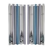 【三房兩廳】北歐系列採條鹿打孔式窗簾寬300x高170cm一窗2片藍灰色300x170