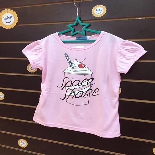 ☆棒棒糖童裝☆(7786)夏女大童粉色奶昔款上衣 120-160