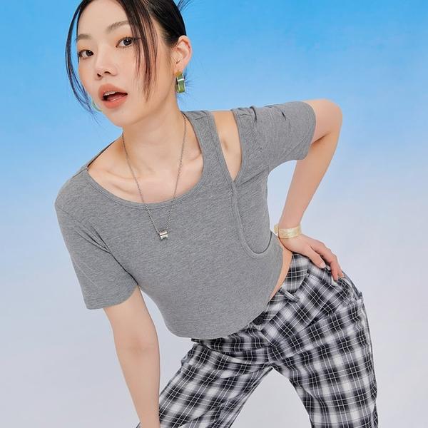 T恤 鏤空素面質感短袖T恤PS10137-創翊韓都