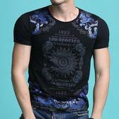 短袖T恤男 韓版潮流 休閒上衣 夏季圓領印花T恤 時尚短袖印花T恤wx3336
