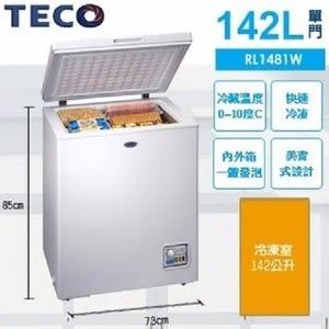 TECO 東元 RL1481W 142L 上掀式單門冷藏冷凍櫃