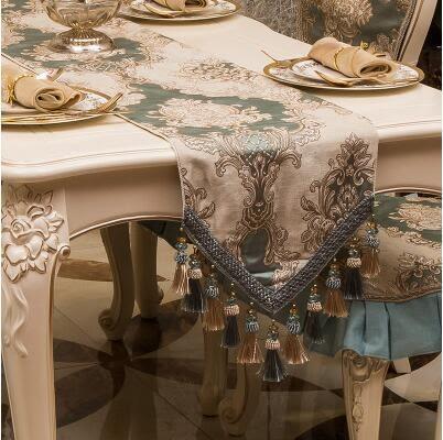 新款餐桌旗茶几桌旗歐式布藝現代簡約床旗床尾巾【思帝羅蘭吊珠】