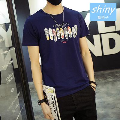 【Y083】shiny藍格子-隨性簡約.夏季男鞋圖案圓領修身短袖T恤