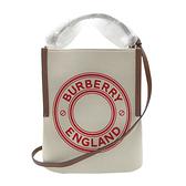 【台中米蘭站】全新品 BURBERRY 品牌標誌帆布peggy手提/肩背二用包(8036823-米白/咖)