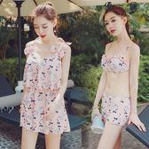 泳衣女三件套韓版溫泉小香風裙式泳衣