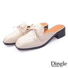 Dingle丁果ღ 小香風蝴蝶結方頭造型粗跟穆勒鞋懶人鞋(二色34-41)