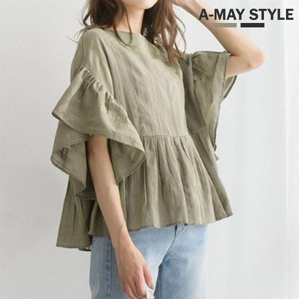 上衣-日系微透感荷葉袖寬鬆上衣