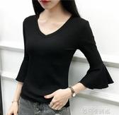 2020春裝新款V領喇叭袖七分袖T恤女黑色棉質修身黑色中袖打底衫 依凡卡時尚
