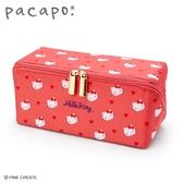 小禮堂 Hello Kitty 全開式方形尼龍拉鍊筆袋 防水筆袋 鉛筆盒 鉛筆袋 (紅) 4550337-90504