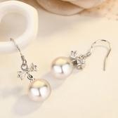 s925銀簡約蝴蝶耳釘女日韓氣質貝珍珠鑲鑚精美耳環時尚飾品