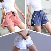 速干運動短褲女寬鬆假兩件防走光里襯透氣瑜伽健身跑步大碼短褲夏