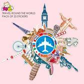 【春季上新】環游世界地標建筑貼紙旅游城市標志旅行箱子行李箱貼防水杯子貼紙