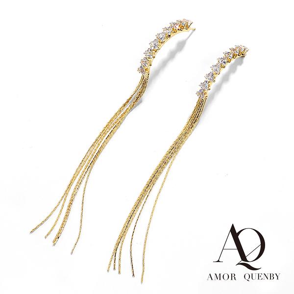 AQ 925純銀 復古感簡約帶鑽流蘇長耳環/耳針 (AMOR Quenby)