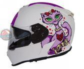 [中壢安信]TORC T14  彩繪 BAD KITTY 消光白 雙鏡片 全罩 安全帽