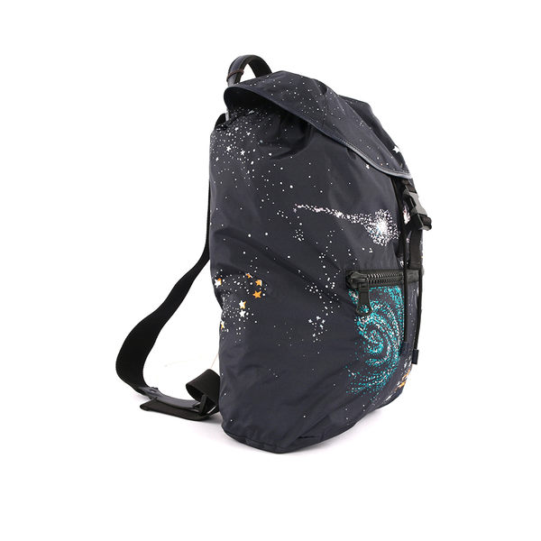 【VALENTINO】宇宙圖騰軟式尼龍後背包(星空藍) LY2B0522LLC M30