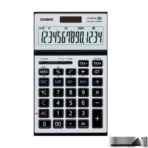 【奇奇文具】【CASIO 卡西歐 計算機 】14位數桌上型可摺式面板計算機 (JS-140TVS-SR銀)