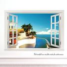 壁貼 地中海窗景 創意壁貼 無痕壁貼 壁紙 牆貼 室內設計 裝潢【BF0890】Loxin