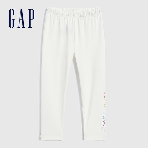 Gap女童 輕薄彈力印花針織褲 697329-白色