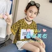 女童短袖T恤 女童寬鬆短袖T恤夏裝2020新款韓版兒童大童洋氣豹紋上衣夏季夏款 2色