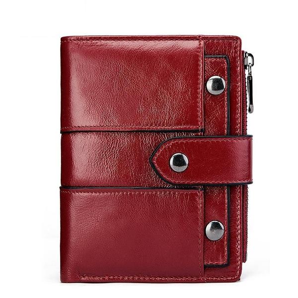女士短款錢夾皮夾 搭扣卡包女士短款錢包 拉鏈女生短夾 時尚百搭多功能零錢包 復古簡約小錢包