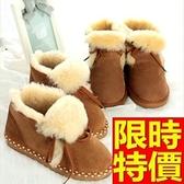 雪靴-知性羊皮毛一體繫帶平底短筒女靴子6色64r29【巴黎精品】