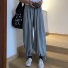 運動褲 夏季薄款運動褲女寬鬆束腳高腰直筒...