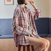 襯衫格子女長袖襯顯瘦氣質休閒上衣外穿百搭【橘社小鎮】