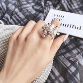 戒指滿天星煙花網紅同款珍珠食指戒指女歐美夸張大個性時尚可微調指環 衣間迷你屋