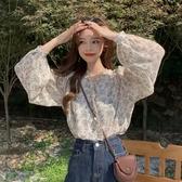 N695# 小衫韓版洋氣溫柔風碎花雪紡衫女長袖打底衫泡泡袖上衣 &小咪的店&