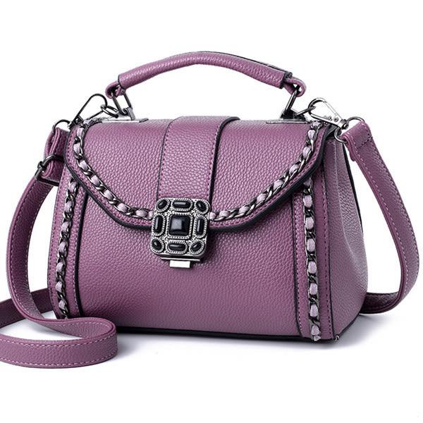 側背包 優質荔枝紋鎖扣鍊條設計斜背包 手提包 共5色-戀戀風塵SY1037-寶來小舖-現貨販售
