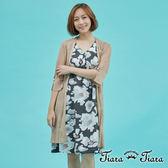 【Tiara Tiara】百貨同步 薄透橫紋袖釦中長版針織罩衫(米/駝)