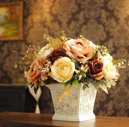 蝶戀花咖啡色款 歐式仿真花套裝花藝 客廳擺放絹花假花 家居飾品-337370049