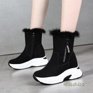 雪地靴女厚底2020新款時尚學生洋氣中筒靴加厚絨保暖短筒大棉鞋女「時尚彩虹屋」