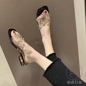 拖鞋女外穿時尚粗跟低跟一字拖女時尚涼拖鞋透明拖鞋【貼身日記】
