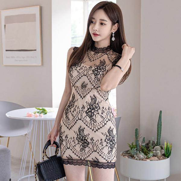 超殺29折 韓國風氣質修身蕾絲拼接花邊時尚包臀無袖洋裝