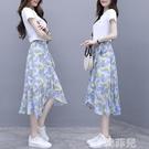 兩件套洋裝 雪紡碎花套裝連身裙女夏季新款法式復古減齡不規則半身裙子兩件套 韓菲兒