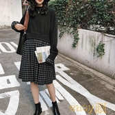 2019新款春季chic女裝寬鬆衛衣拼接格子假兩件中長款連身裙