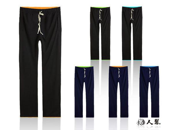 【男人幫大尺碼】K0408*配色拼接休閒排汗長褲