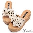 拖鞋 可愛波點蝴蝶結增高厚底鞋-米