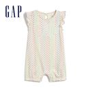 Gap嬰兒 Logo圓領按扣式包屁衣 543736-象牙白