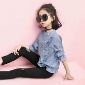 女童襯衫長袖春秋裝2019新款童裝韓版兒童襯衣條紋中大童洋氣上衣