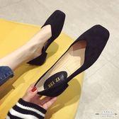 大碼低跟 絨面淺口方頭低跟女單鞋不規則淺口黑色35-41 - 古梵希鞋包