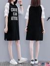 熱賣大碼洋裝 寬鬆大碼連身裙2021新款夏季短袖紗網拼接休閒中長款t恤裙女小衫 coco