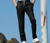 亞麻褲男寬鬆褲子棉麻男褲夏季薄款長褲直筒透氣麻料鬆緊腰休閒褲