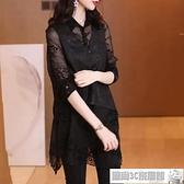 T恤女 長版襯衫女2020秋季新款設計感蕾絲拼接假兩件歐貨洋氣不規則長袖上衣